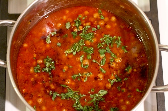 curried chickpeas in pot